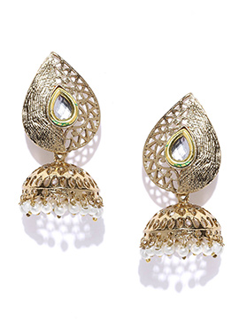 Golden Leaves Design Jhumka Earrings