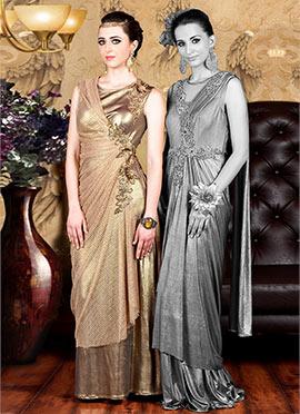 Golden Lycra Draped Gown
