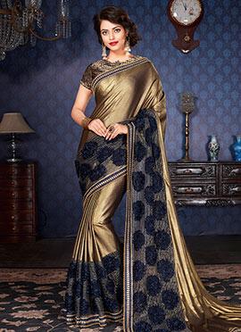 Golden Lycra Net Saree