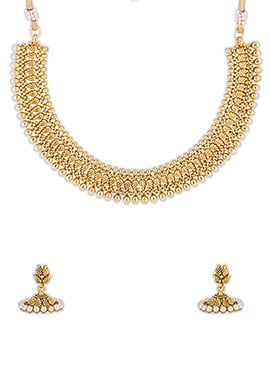 Golden Moti Enhanced Necklace Set