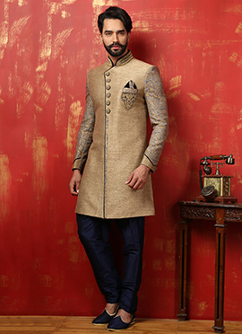 Golden N Blue Benarasi Silk Achkan Sherwani