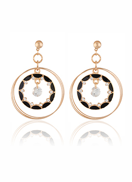 Golden N Black Crystal Dangler Earring