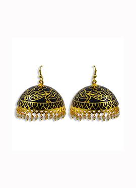 Golden N Black Hooks Earrings
