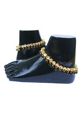 Golden N Black Kundan Anklet