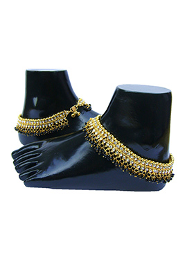 Golden N Black Stones Anklet