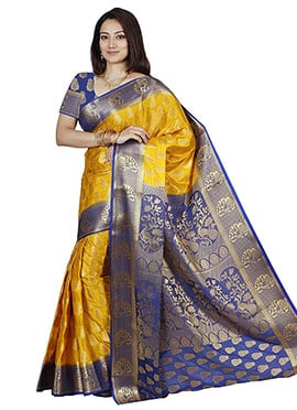 Golden N Blue Art Silk Saree