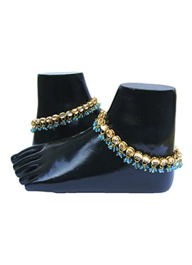 Golden N Blue Kundan Anklet