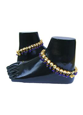 Golden N Blue Kundan Anklet