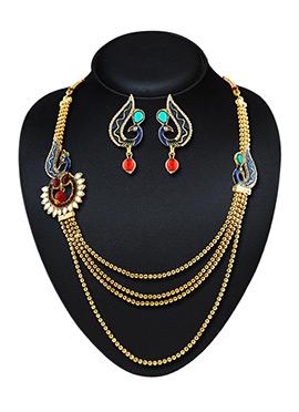 Golden N Blue Necklace Set
