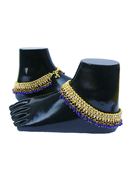 Golden N Blue Stones Anklet