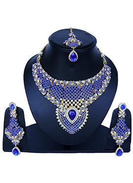 Golden N Blue Zircon Stone Necklace Set