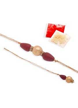 Golden N Brown Beads Rakhi