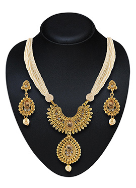 Golden N Brown Stone Necklace Set