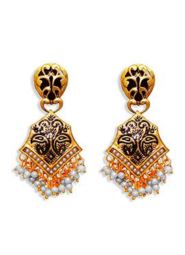 Golden N Dark Brown Dangler Earrings