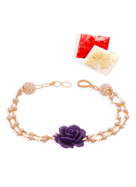 Golden N Dark Violet chained Rakhi