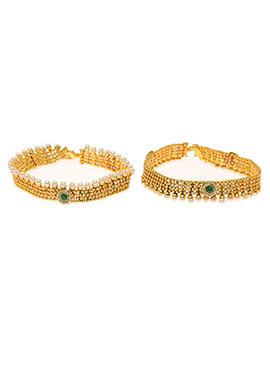 Golden N Green Beads Anklet
