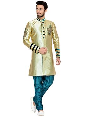 Golden N Green Breeches Style Indowestern Sherwani