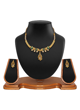 Golden N Green Colored Necklace Set