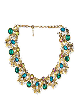 Golden N Green Floral Necklace