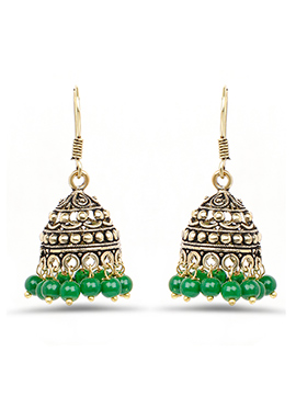 Golden N Green Jhumka Earring