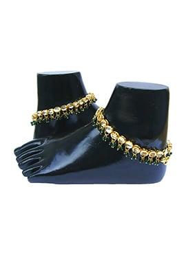 Golden N Green Kundan Anklet