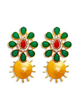 Golden N Green Kundans Studs Earrings