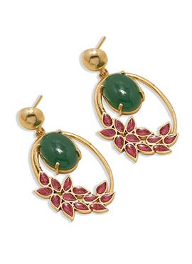 Golden N Green Onyx Danglers