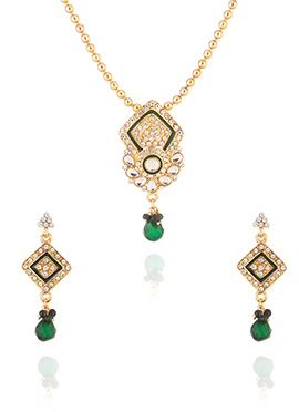 Golden N Green Stone Enhanced Necklace Set