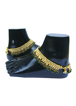 Golden N Green Stones Anklet