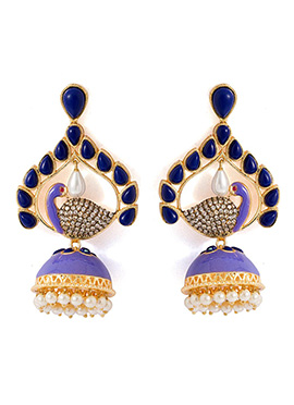Golden N Lavender Peacock Designed Earrings