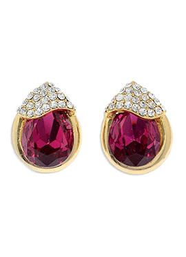 Golden N Magenta American Diamonds Studs