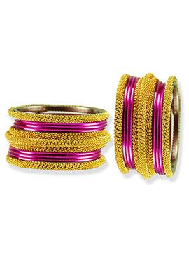 Golden N Magenta Colored Bangles