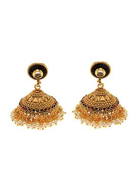 Golden N Maroon Antique Jhumka