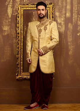 Golden N Maroon Benarasi Silk Angrakha Sherwani