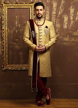 Golden N Maroon Breeches Style Achkan Sherwani