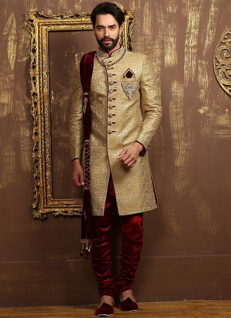 Buy Golden N Maroon Breeches Style Achkan Sherwani