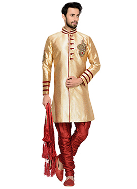 Golden N Maroon Breeches Style Indowestern Sherwani