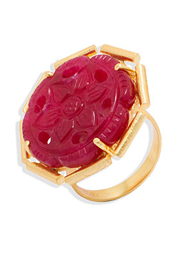 Golden N Maroon Color Floral Style Ring