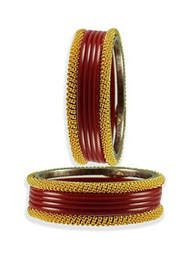 Golden N Maroon Colored Trendy Bangles