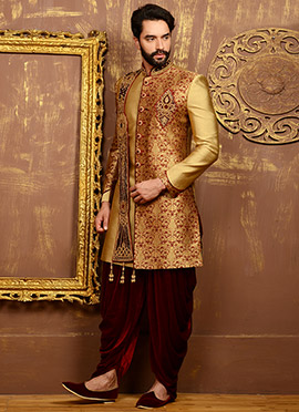 Golden N Maroon Dhoti Style Achkan Sherwani