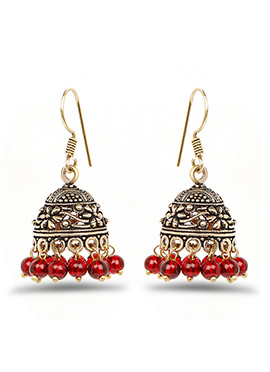 Golden N Maroon Jhumka Earring