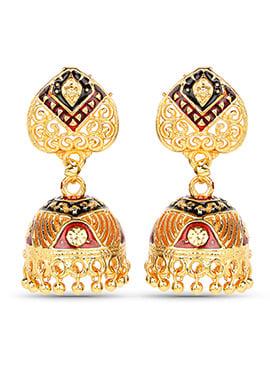 Golden N Maroon Jhumka Earring