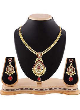 Golden N Maroon Stone Necklace Set