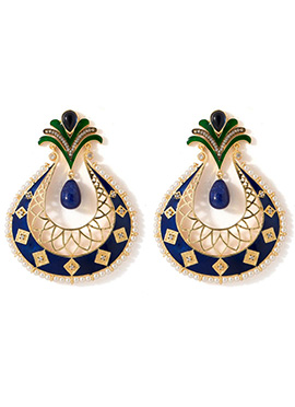 Golden N Navy Blue Beads Chandbali Earrings