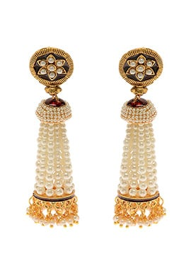 Golden N Off White Antique Beads Jhumka