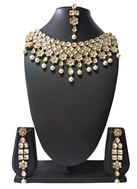 Golden N Off White Beads N Kundan Choker Necklace