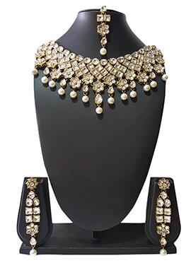 Golden N Off White Beads N Kundan Choker Necklace Set