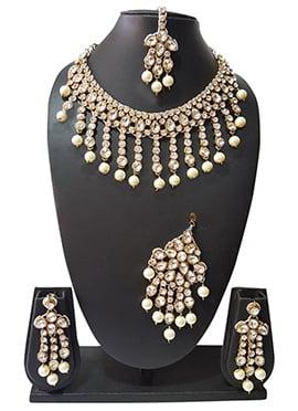 Golden N Off White Beads N Kundan Necklace Set