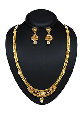 Golden N Off White Beads Necklace Set