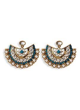 Golden N Off White Chandbali Earrings